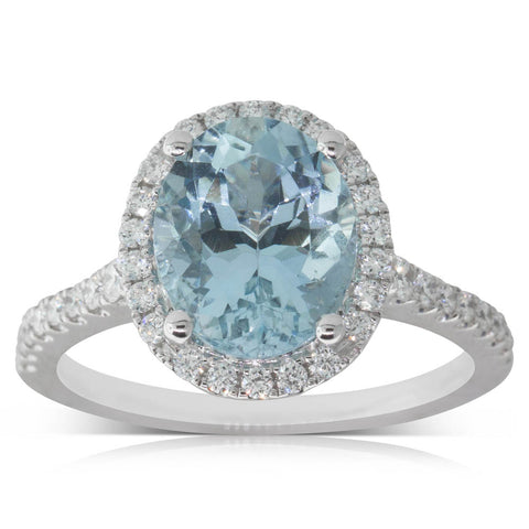 18ct White Gold 2.83ct Aquamarine & Diamond Ring - Walker & Hall