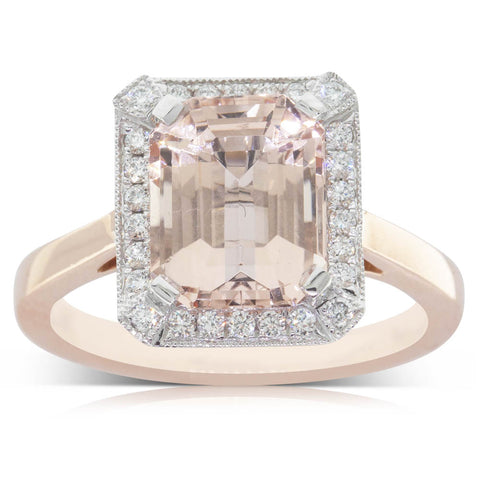 18ct Rose Gold 3.22ct Morganite & Diamond Halo Ring - Walker & Hall