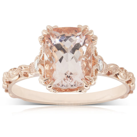 18ct Rose Gold 2.17ct Morganite & Diamond Ring - Walker & Hall