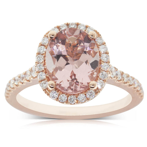 18ct Rose Gold 2.39ct Morganite & Diamond Halo Ring - Walker & Hall