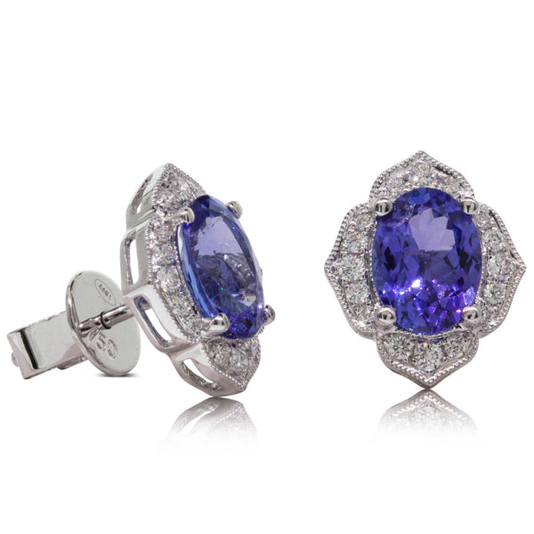 18ct White Gold 2.45ct Tanzanite & Diamond Halo Earrings - Walker & Hall