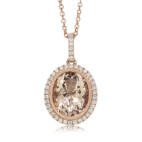 18ct Rose Gold 3.30ct Morganite & Diamond Halo Pendant - Walker & Hall