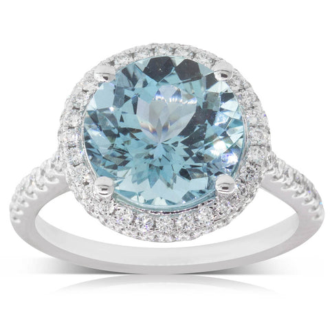 18ct White Gold 3.61ct Aquamarine & Diamond Ring - Walker & Hall