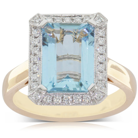 18ct Yellow & White Gold 2.42ct Aquamarine & Diamond Ring - Walker & Hall