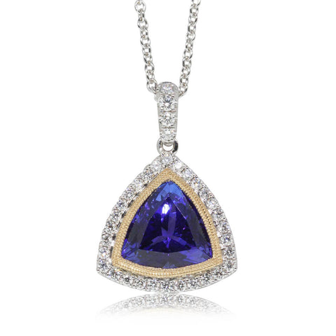 18ct Yellow & White Gold Tanzanite & Diamond Halo Pendant - Walker & Hall