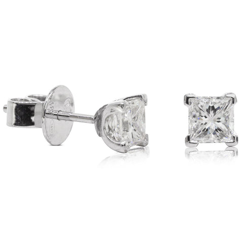 18ct White Gold Diamond Solitaire Earrings - Walker & Hall