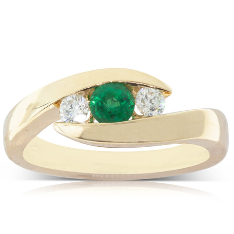 18ct Yellow Gold .26ct Emerald & Diamond Ring - Walker & Hall