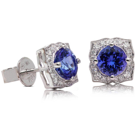 18ct White Gold Tanzanite & Diamond Halo Earrings - Walker & Hall