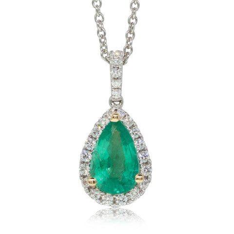 18ct White Gold 1.06ct Emerald & Diamond Halo Pendant - Walker & Hall