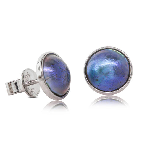 9ct White Gold Paua Pearl Studs - Walker & Hall