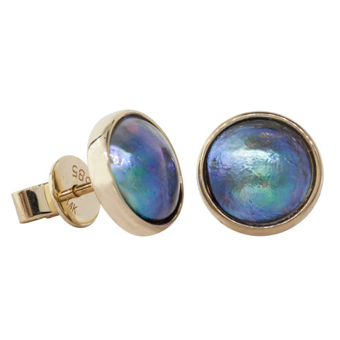 9ct Yellow Gold Paua Pearl Studs - Walker & Hall