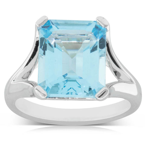 14ct White Gold Blue Topaz Verona Ring - Walker & Hall