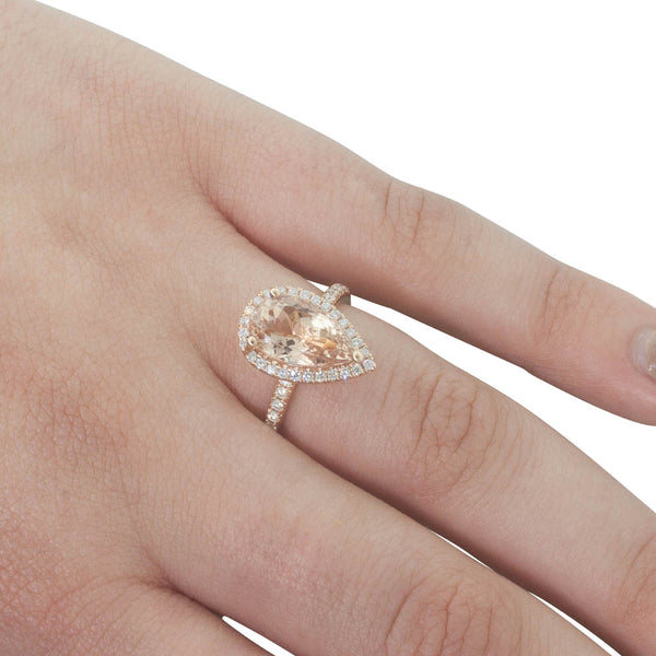 18ct Rose Gold 2.91ct Morganite & Diamond Ring - Walker & Hall