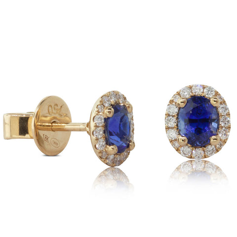 18ct Yellow Gold .96ct Sapphire & Diamond Earrings - Walker & Hall
