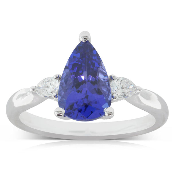 18ct White Gold 2.19ct Tanzanite & Diamond Ring - Walker & Hall