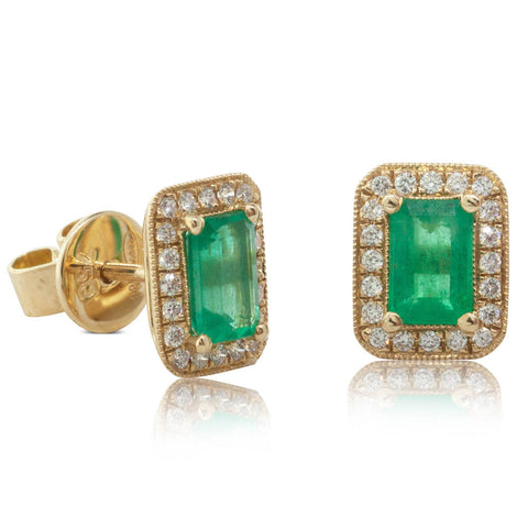 18ct Yellow Gold .97ct Emerald & Diamond Earrings - Walker & Hall