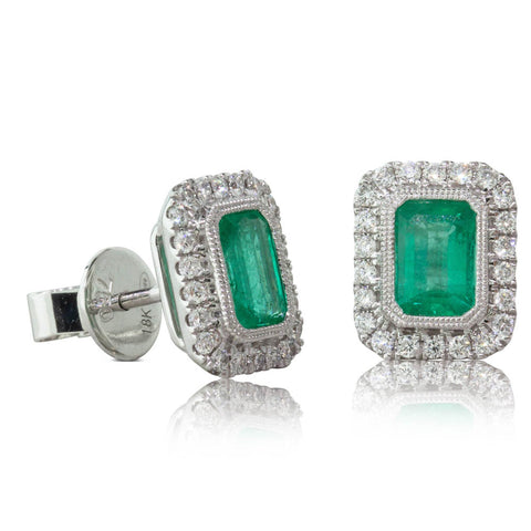 18ct White Gold 1.17ct Emerald & Diamond Earrings - Walker & Hall