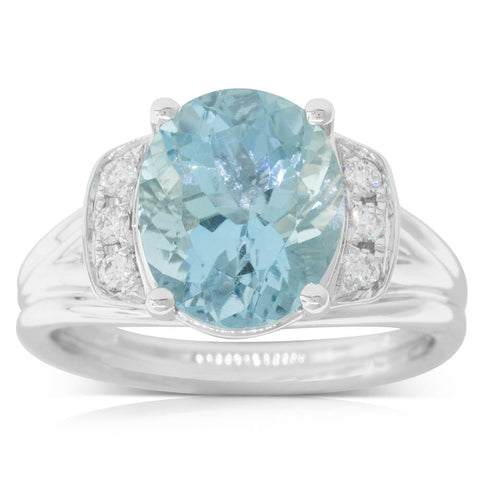 18ct White Gold 3.25ct Aquamarine & Diamond Ring - Walker & Hall