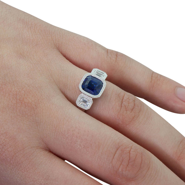 18ct White Gold 2.67ct Sapphire & Diamond Ring - Walker & Hall