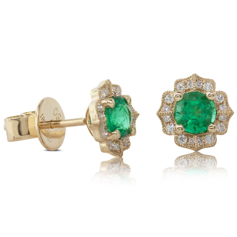 18ct Yellow Gold .77ct Emerald & Diamond Earrings - Walker & Hall