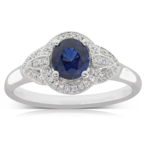 18ct White Gold .96ct Sapphire & Diamond Ring - Walker & Hall