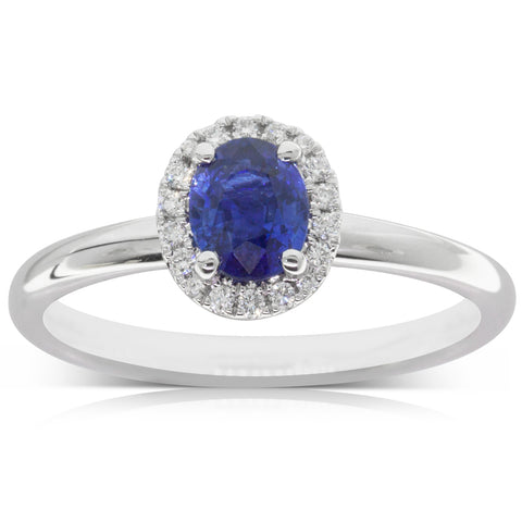 18ct White Gold .78ct Sapphire & Diamond Ring - Walker & Hall
