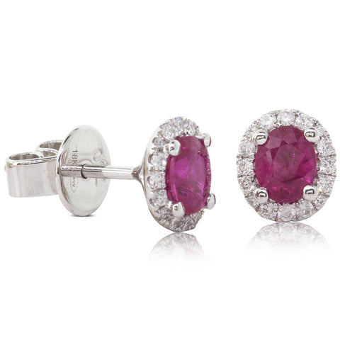 18ct White Gold 1.10ct Ruby & Diamond Earrings - Walker & Hall