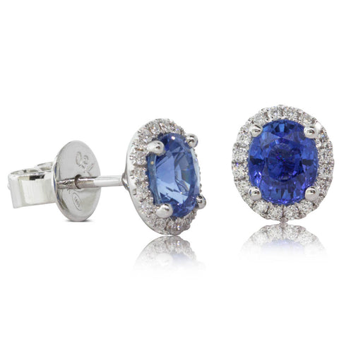 18ct Yellow Gold 2.27ct Sapphire & Diamond Earrings - Walker & Hall