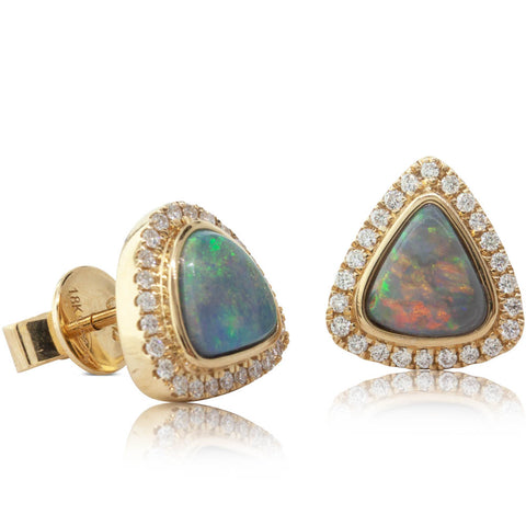 18ct Yellow Gold Opal & Diamond Earrings - Walker & Hall