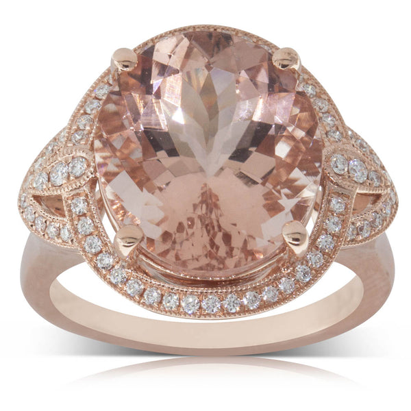 18ct Rose Gold 7.67ct Morganite & Diamond Halo Ring - Walker & Hall