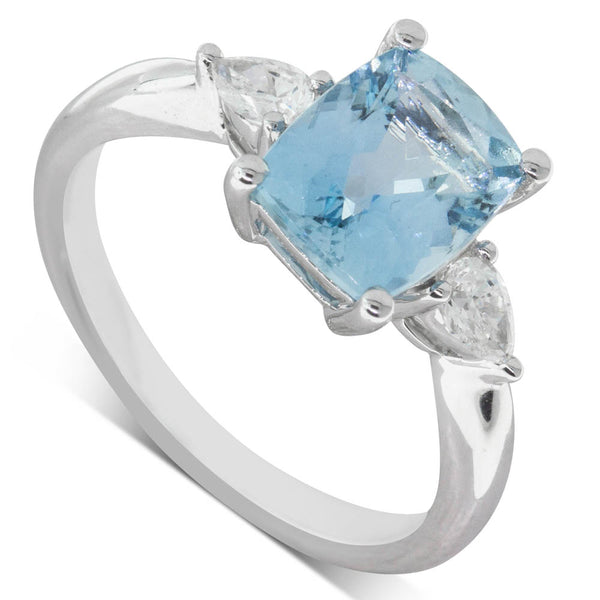 18ct White Gold 2.05ct Aquamarine & Diamond Ring - Walker & Hall