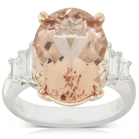 18ct White & Rose Gold 8.36ct Morganite & Diamond Ring - Walker & Hall