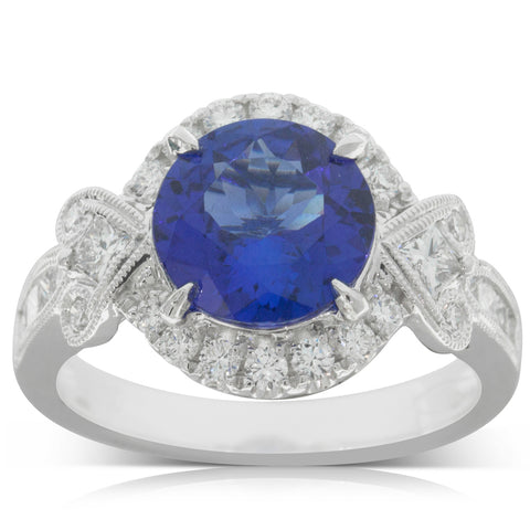 18ct White Gold 2.70ct Tanzanite & Diamond Halo Ring - Walker & Hall