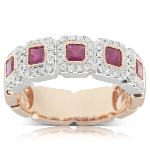 18ct White & Rose Gold Ruby & Diamond Ring - Walker & Hall