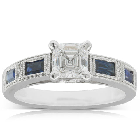 18ct White Gold 1.00ct Diamond & Sapphire Ring - Walker & Hall