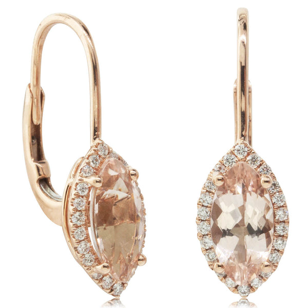 18ct Rose Gold 2.08ct Morganite & Diamond Earrings - Walker & Hall