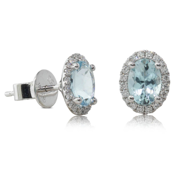 18ct White Gold 1.47ct Aquamarine & Diamond Earrings - Walker & Hall