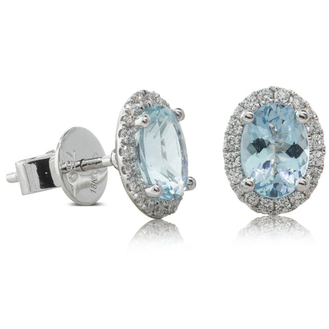 18ct White Gold 1.42ct Aquamarine & Diamond Earrings - Walker & Hall