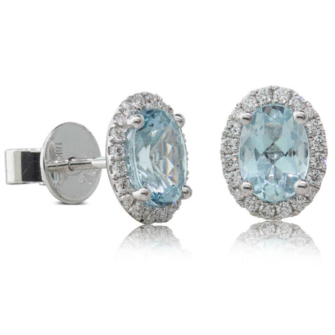 18ct White Gold 1.56ct Aquamarine & Diamond Earrings - Walker & Hall