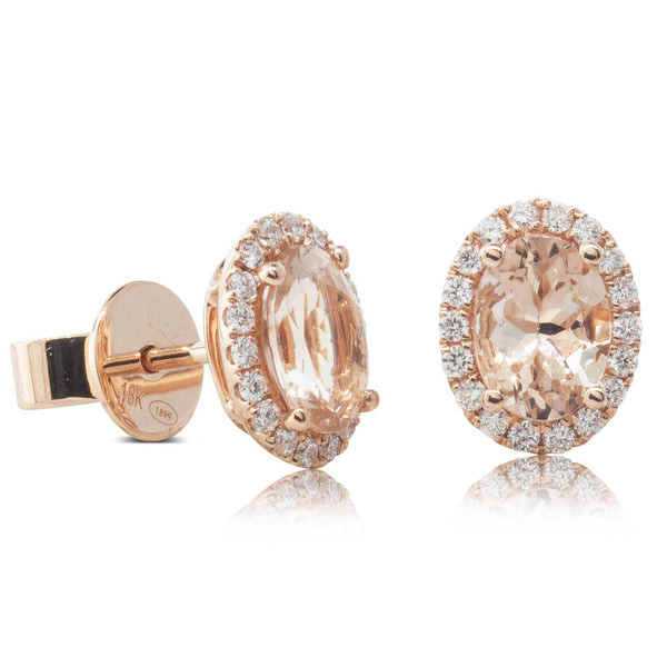 18ct Rose Gold 1.42ct Morganite & Diamond Earrings - Walker & Hall