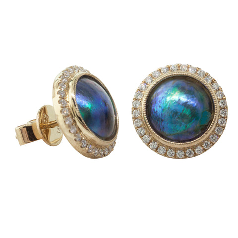 18ct Yellow Gold Paua Pearl & Diamond Halo Earrings - Walker & Hall