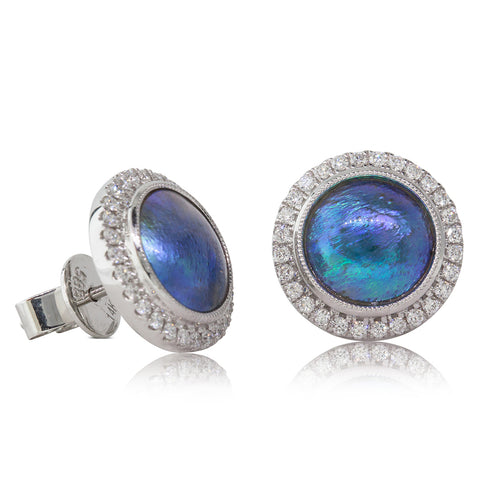 18ct White Gold Paua Pearl & Diamond Halo Earrings - Walker & Hall