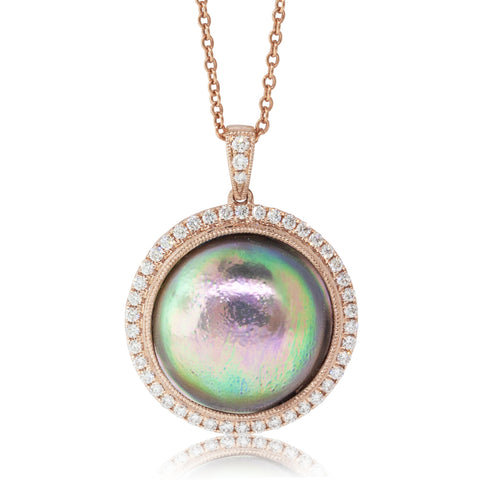 18ct Rose Gold 14.4mm Paua Pearl & Diamond Pendant - Walker & Hall