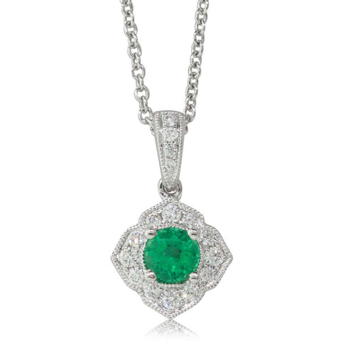 18ct White Gold .29ct Emerald & Diamond Halo Pendant - Walker & Hall