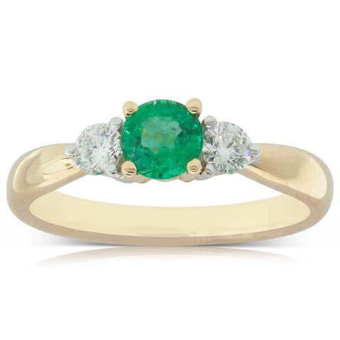 18ct Yellow Gold .51ct Emerald & Diamond Ring - Walker & Hall