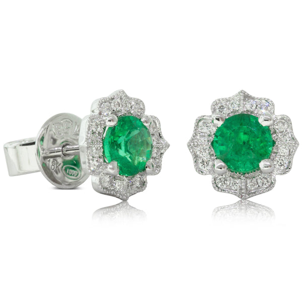 18ct White Gold .77ct Emerald & Diamond Halo Earrings - Walker & Hall