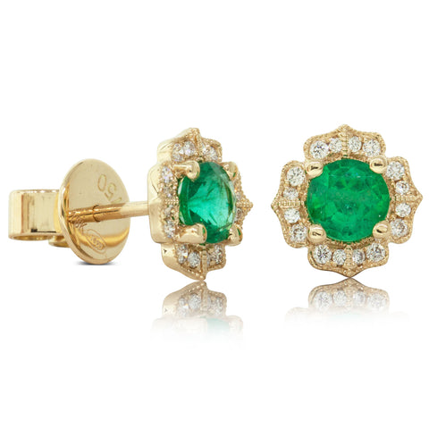 18ct Yellow Gold .70ct Emerald & Diamond Halo Earrings - Walker & Hall
