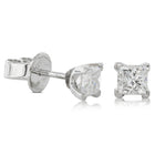 18ct White Gold 1.00ct Diamond Solitaire Earrings - Walker & Hall
