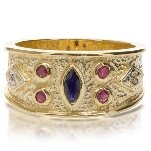 Deja Vu 9ct Yellow Gold Sapphire, Ruby & Diamond Ring - Walker & Hall