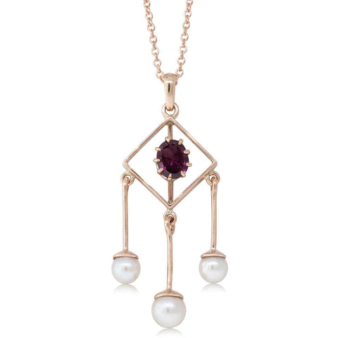 Deja Vu 9ct Rose Gold Garnet & Pearl Pendant - Walker & Hall